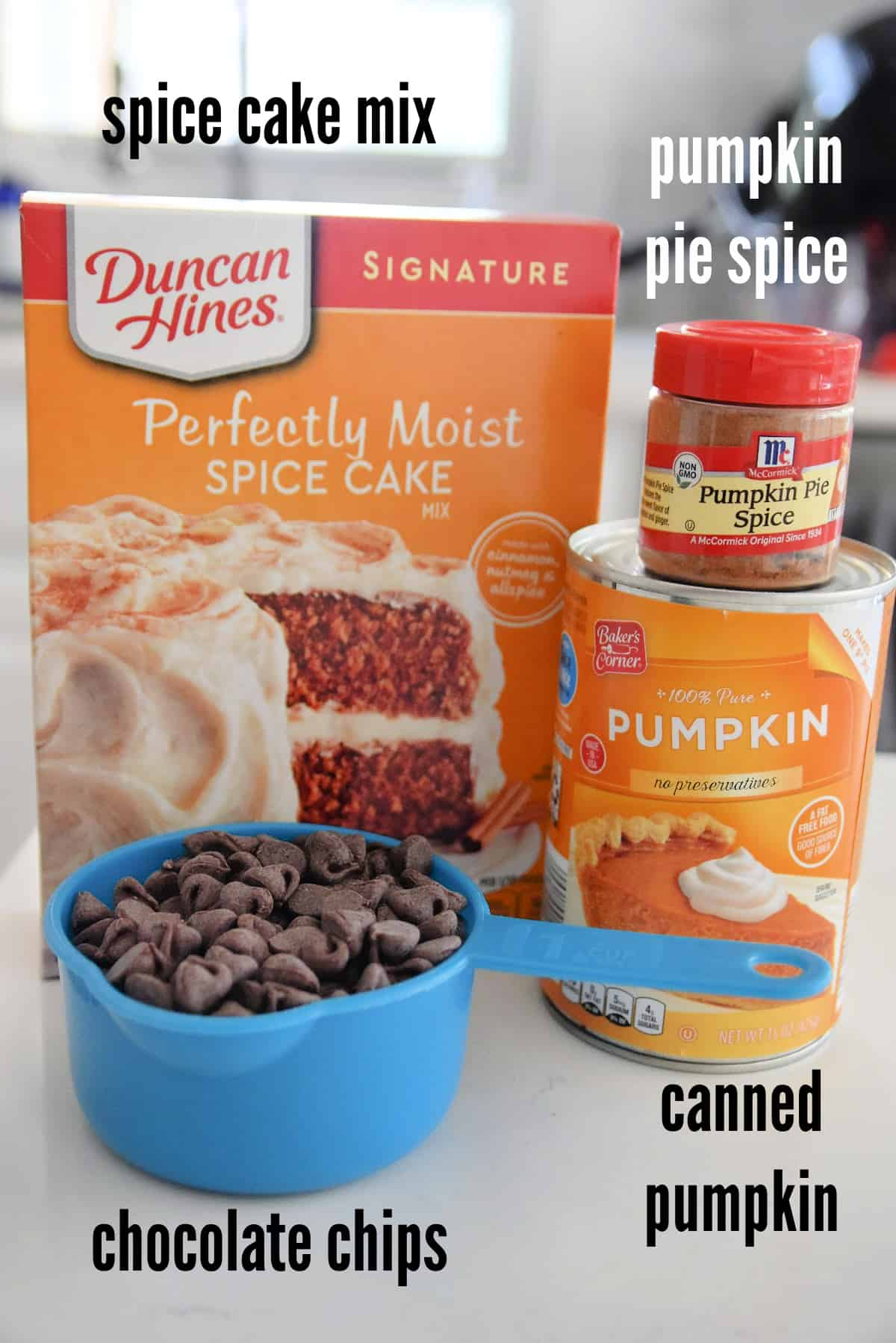 spice cake mix, pumpkin pie spice, canned pumpkin and chocolate chips
