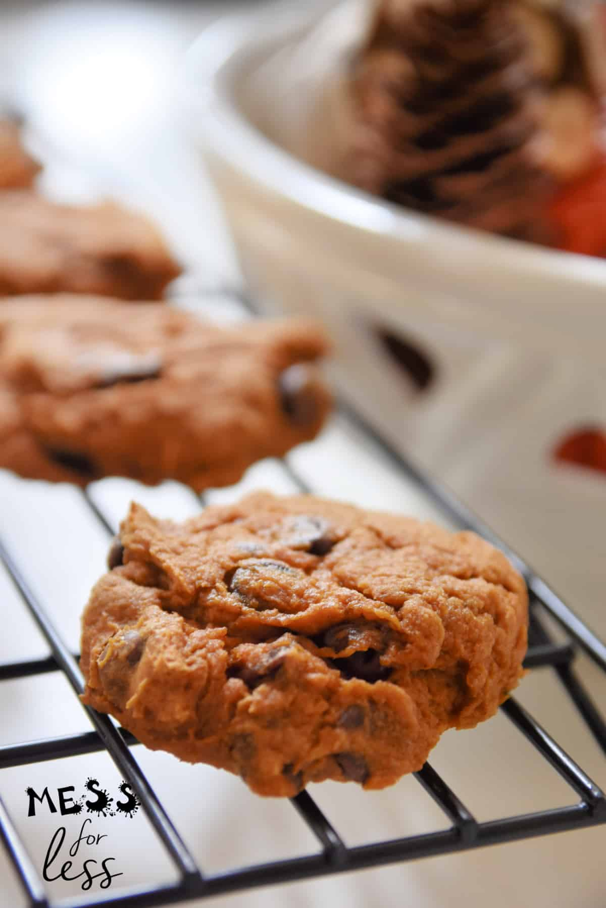 pumpkin cookies on a cooling rack