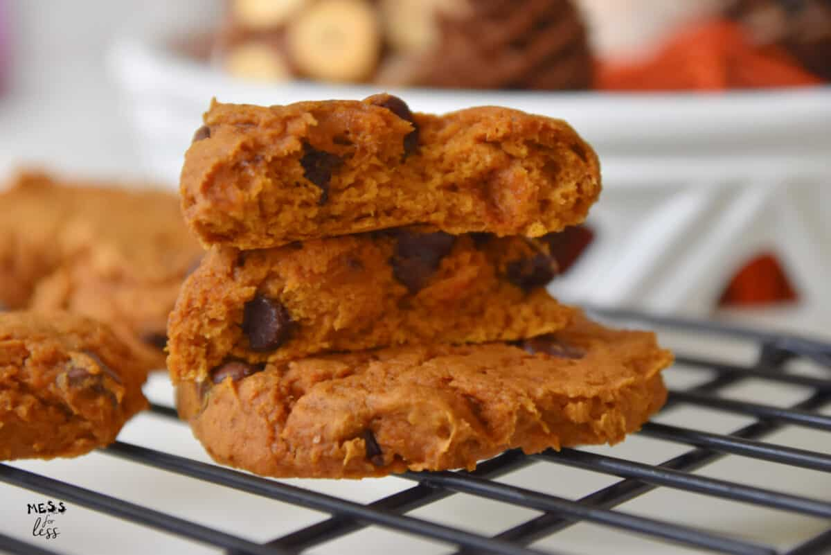 pumpkin spice cookies with cake mix on a cooling rack