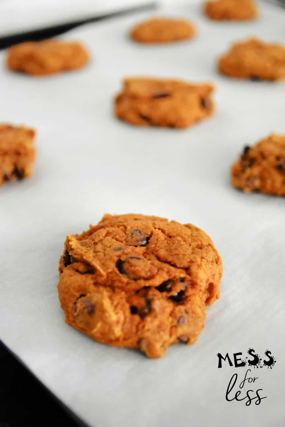 pumpkin spice cookies on a cookie sheet