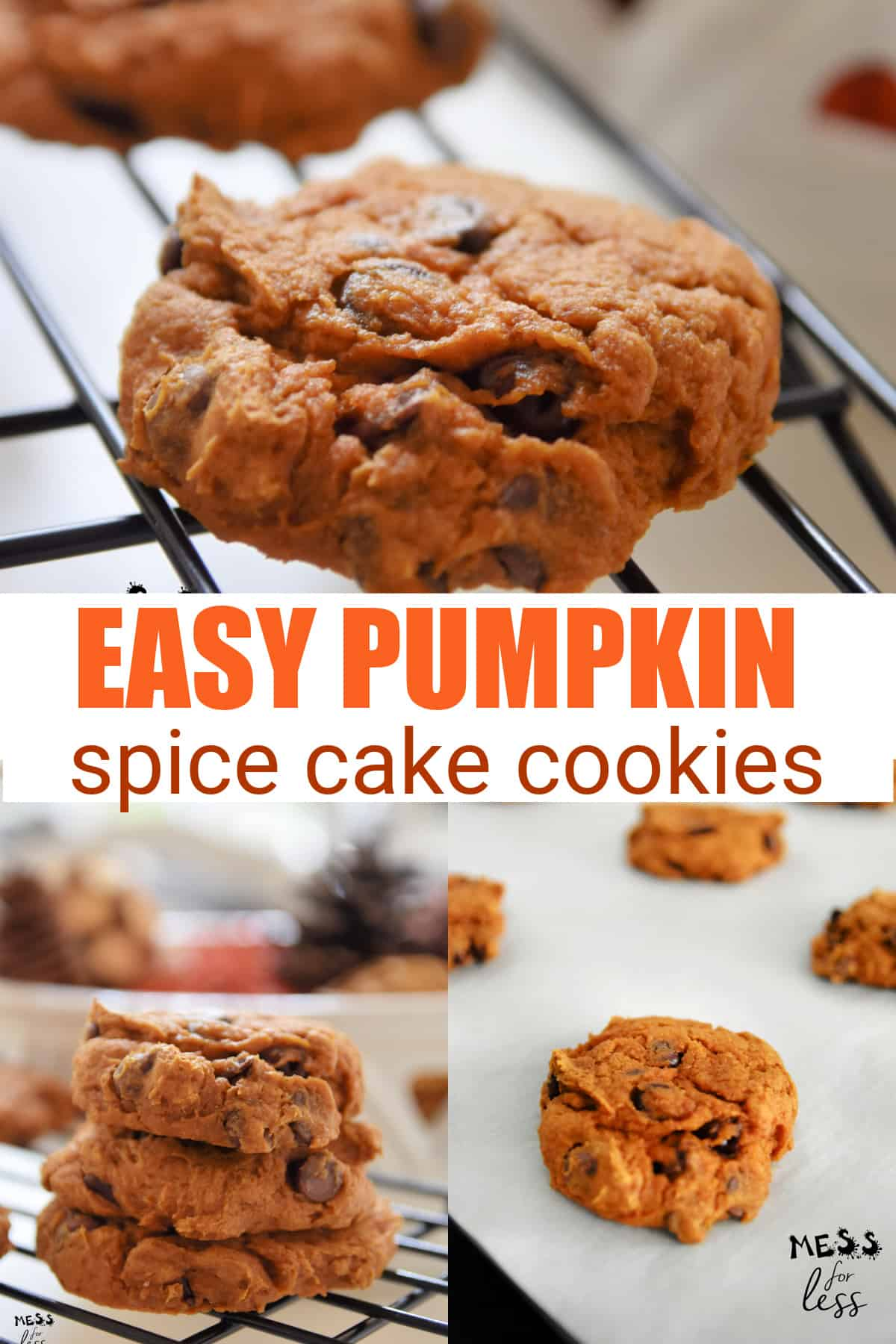 These light and fluffy pumpkin cookies with cake mix are one of our favorite fall flavor combinations.The spice cake mix in this recipe adds a little something extra to the pumpkin cookies and the chocolate chips make them hard to resist!